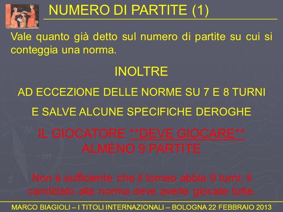 NUMERO DI PARTITE (1) MARCO BIAGIOLI – I TITOLI INTERNAZIONALI – BOLOGNA 22 FEBBRAIO 2013 Vale quanto già detto sul numero di partite su cui si conteg