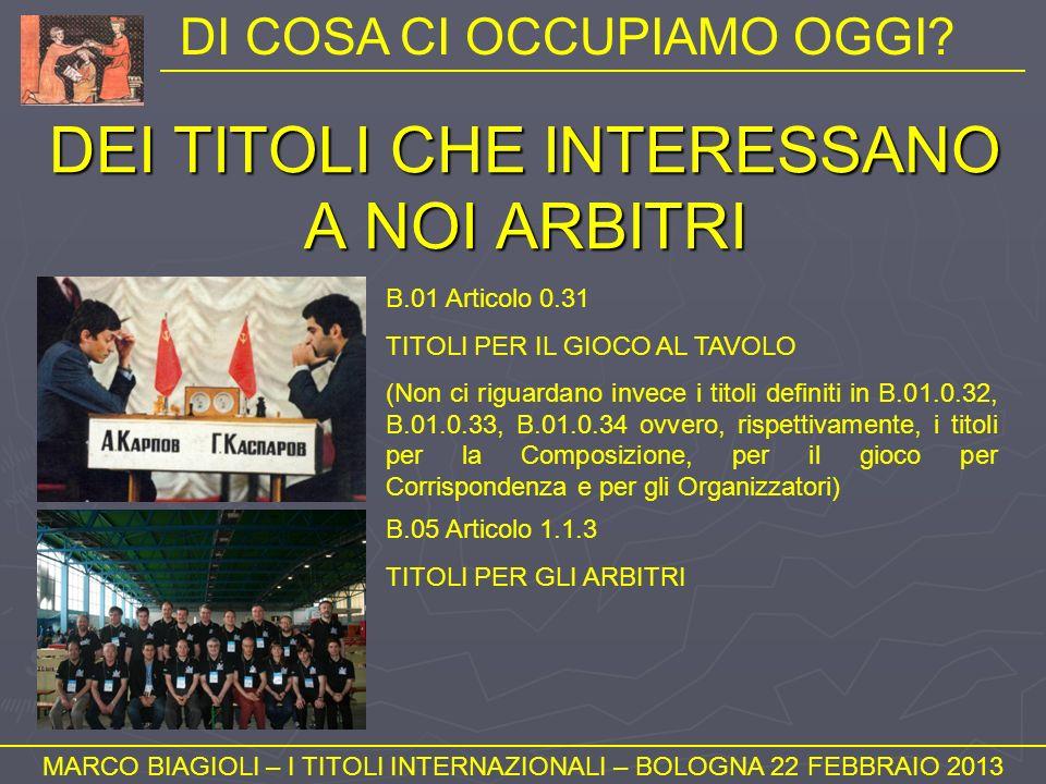 NUMERO DI PARTITE (3) MARCO BIAGIOLI – I TITOLI INTERNAZIONALI – BOLOGNA 22 FEBBRAIO 2013 Quelle decise per forfeit o aggiudicazione.