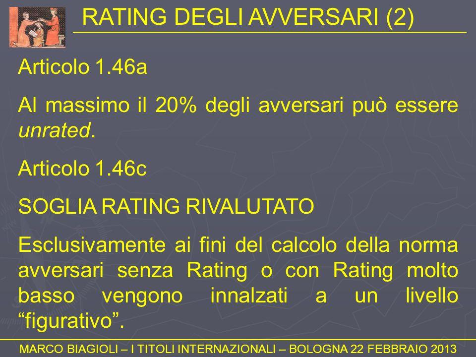 RATING DEGLI AVVERSARI (2) MARCO BIAGIOLI – I TITOLI INTERNAZIONALI – BOLOGNA 22 FEBBRAIO 2013 Articolo 1.46a Al massimo il 20% degli avversari può es