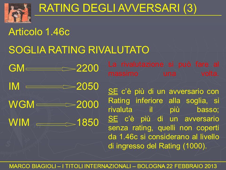 RATING DEGLI AVVERSARI (3) MARCO BIAGIOLI – I TITOLI INTERNAZIONALI – BOLOGNA 22 FEBBRAIO 2013 Articolo 1.46c SOGLIA RATING RIVALUTATO GM2200 IM2050 W