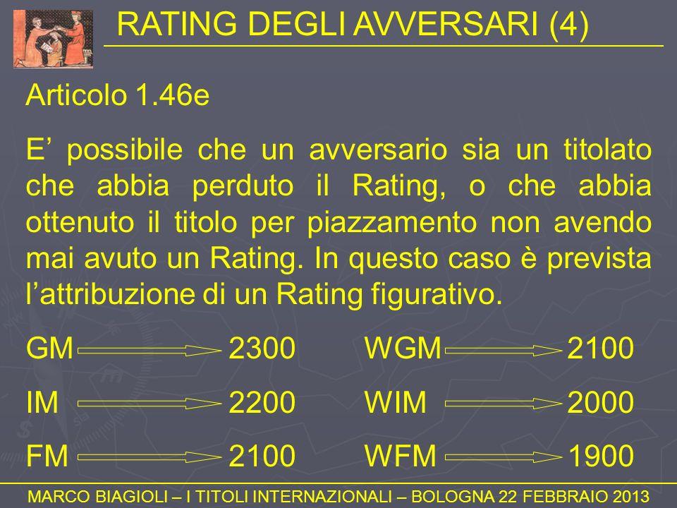 RATING DEGLI AVVERSARI (4) MARCO BIAGIOLI – I TITOLI INTERNAZIONALI – BOLOGNA 22 FEBBRAIO 2013 Articolo 1.46e E possibile che un avversario sia un tit