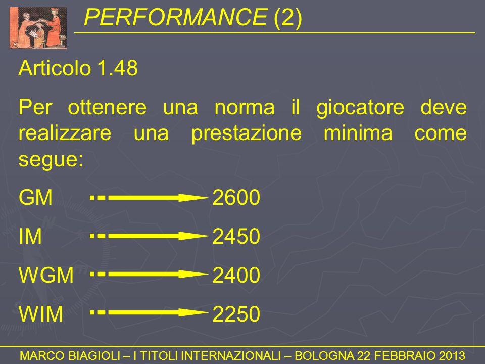 PERFORMANCE (2) MARCO BIAGIOLI – I TITOLI INTERNAZIONALI – BOLOGNA 22 FEBBRAIO 2013 Articolo 1.48 Per ottenere una norma il giocatore deve realizzare