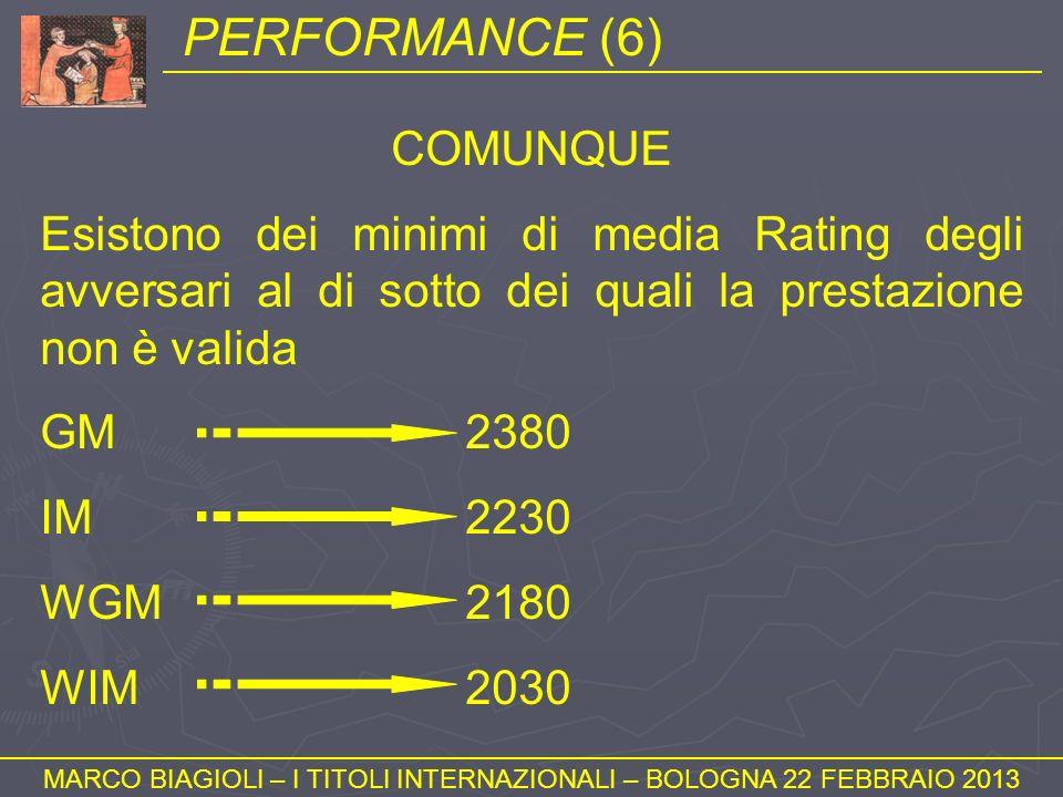 PERFORMANCE (6) MARCO BIAGIOLI – I TITOLI INTERNAZIONALI – BOLOGNA 22 FEBBRAIO 2013 COMUNQUE Esistono dei minimi di media Rating degli avversari al di