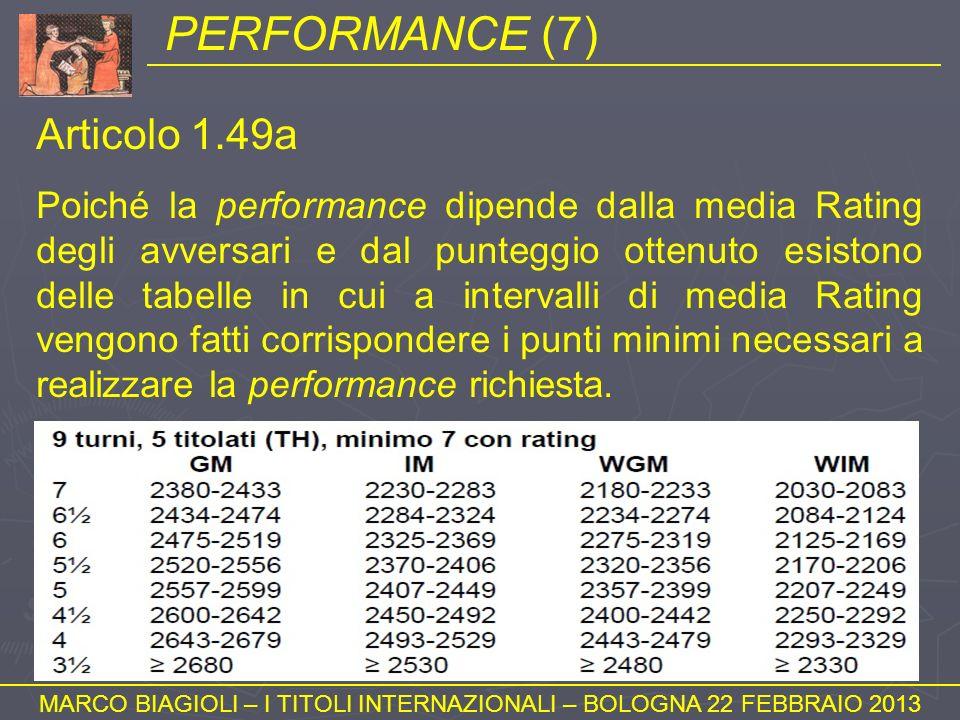 PERFORMANCE (7) MARCO BIAGIOLI – I TITOLI INTERNAZIONALI – BOLOGNA 22 FEBBRAIO 2013 Articolo 1.49a Poiché la performance dipende dalla media Rating de