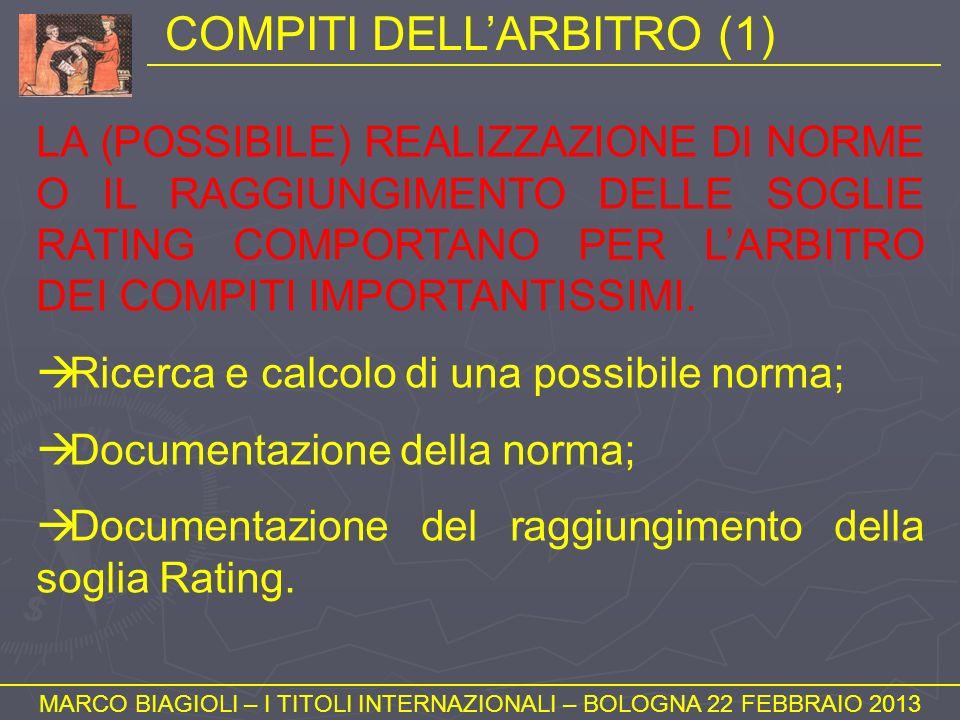 COMPITI DELLARBITRO (1) MARCO BIAGIOLI – I TITOLI INTERNAZIONALI – BOLOGNA 22 FEBBRAIO 2013 LA (POSSIBILE) REALIZZAZIONE DI NORME O IL RAGGIUNGIMENTO