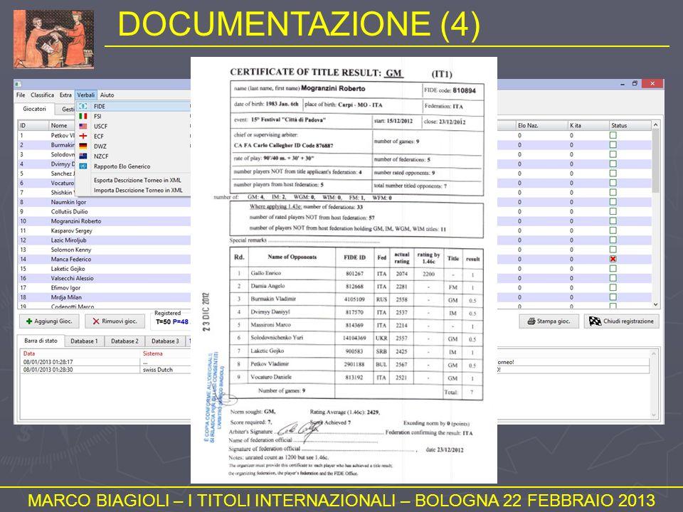 DOCUMENTAZIONE (4) MARCO BIAGIOLI – I TITOLI INTERNAZIONALI – BOLOGNA 22 FEBBRAIO 2013