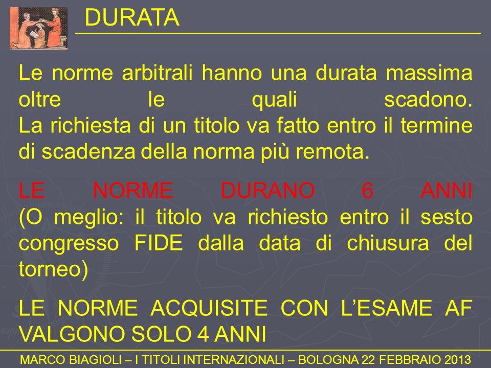 DURATA MARCO BIAGIOLI – I TITOLI INTERNAZIONALI – BOLOGNA 22 FEBBRAIO 2013 Le norme arbitrali hanno una durata massima oltre le quali scadono. La rich