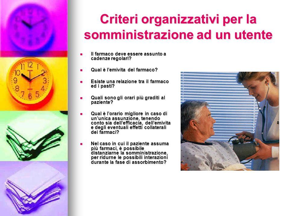 Criteri organizzativi per la somministrazione ad un utente Il farmaco deve essere assunto a cadenze regolari? Il farmaco deve essere assunto a cadenze
