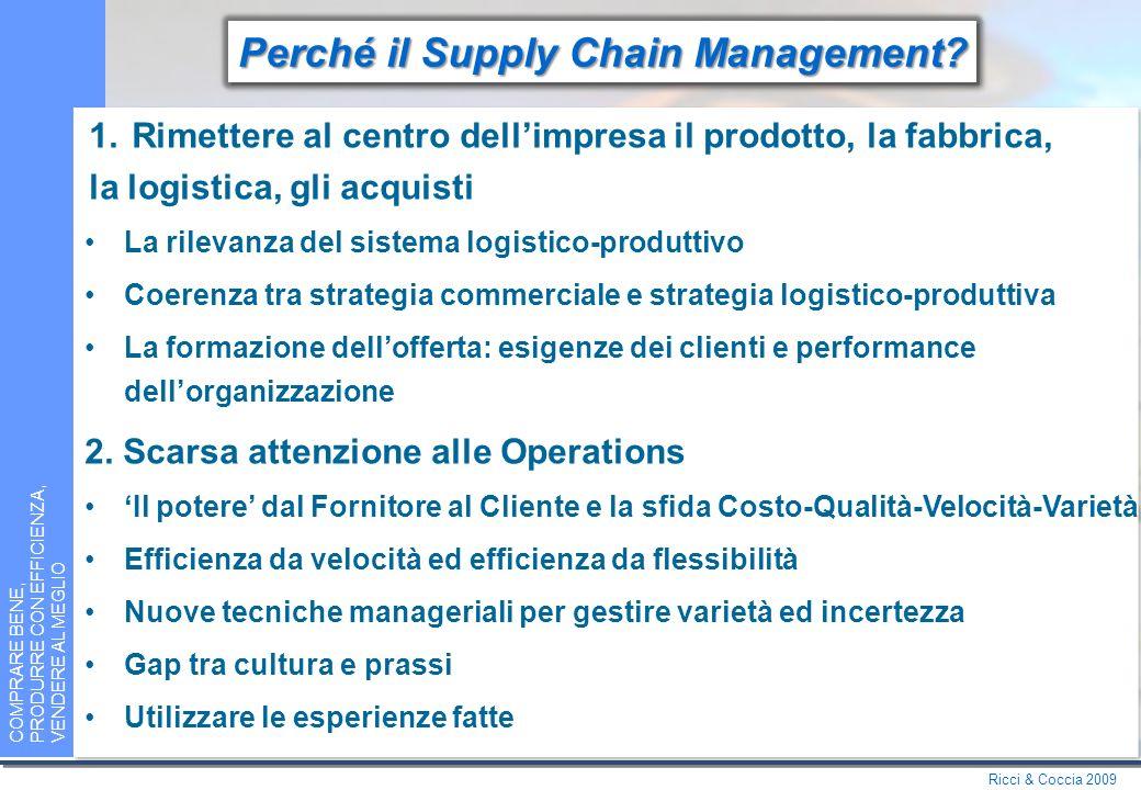 Ricci & Coccia 2009 COMPRARE BENE, PRODURRE CON EFFICIENZA, VENDERE AL MEGLIO Perché un libro di Management.