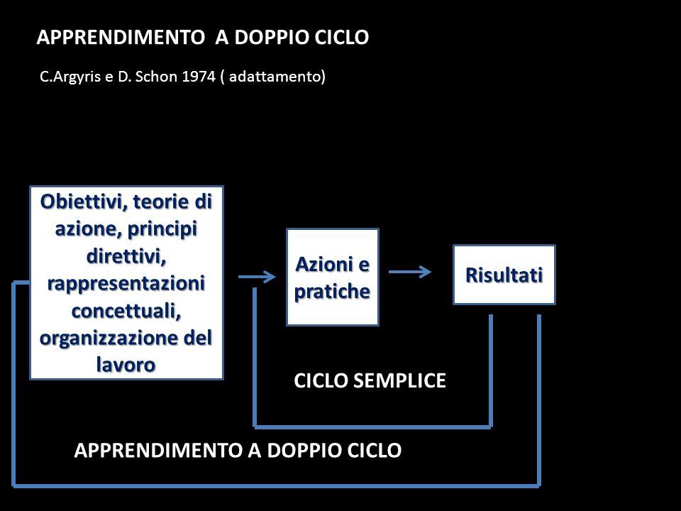 Obiettivi, teorie di azione, principi direttivi, rappresentazioni concettuali, organizzazione del lavoro Azioni e pratiche Risultati CICLO SEMPLICE AP