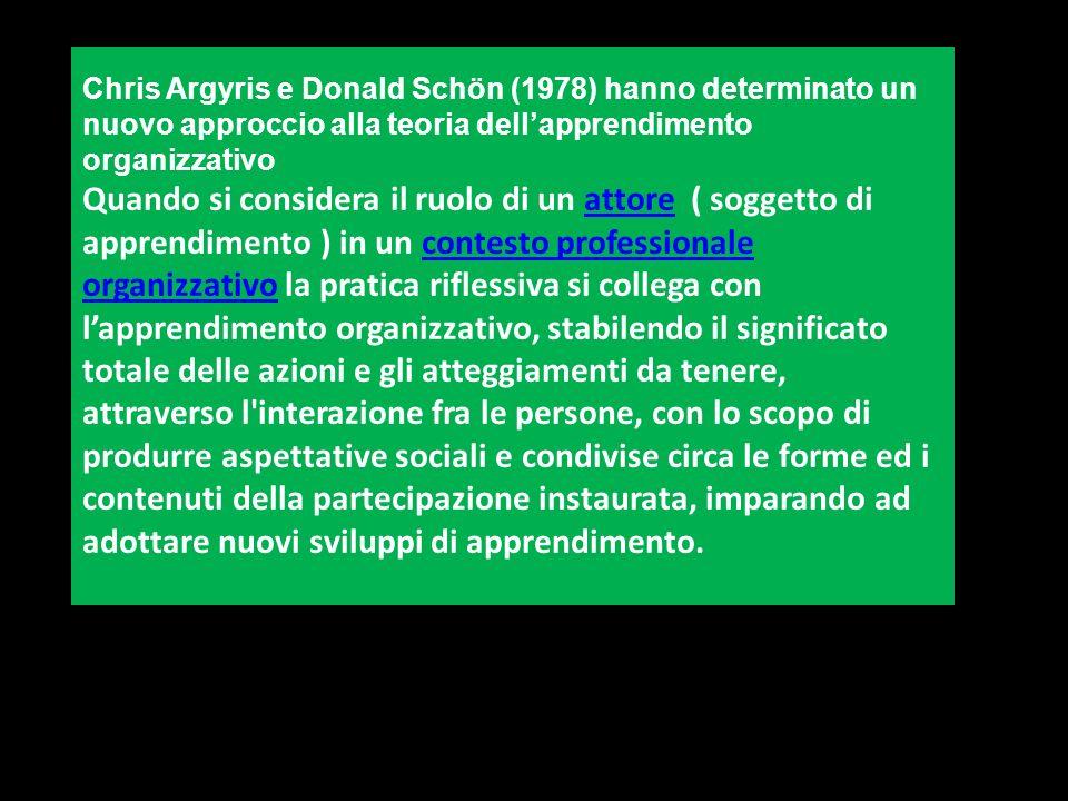 Chris Argyris e Donald Schön (1978) hanno determinato un nuovo approccio alla teoria dellapprendimento organizzativo Quando si considera il ruolo di u