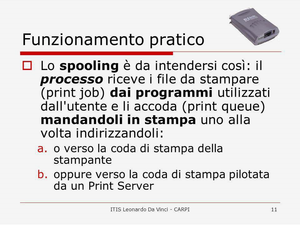 ITIS Leonardo Da Vinci - CARPI11 Funzionamento pratico Lo spooling è da intendersi così: il processo riceve i file da stampare (print job) dai program