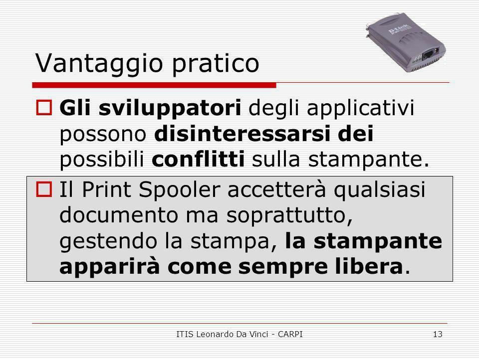 ITIS Leonardo Da Vinci - CARPI13 Vantaggio pratico Gli sviluppatori degli applicativi possono disinteressarsi dei possibili conflitti sulla stampante.