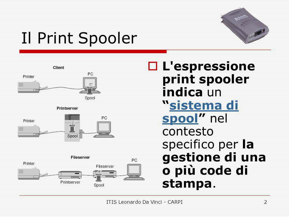 ITIS Leonardo Da Vinci - CARPI3 Pocket Print Server Il print spooler è un sistema informatico avente queste funzioni: 1.Memorizzare le stampe degli utenti; 2.E poi inviarle alla stampante appena questa è disponibile.