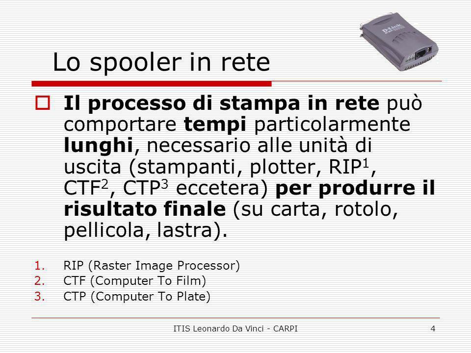 ITIS Leonardo Da Vinci - CARPI4 Lo spooler in rete Il processo di stampa in rete può comportare tempi particolarmente lunghi, necessario alle unità di