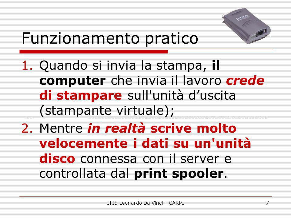 ITIS Leonardo Da Vinci - CARPI7 Funzionamento pratico 1.Quando si invia la stampa, il computer che invia il lavoro crede di stampare sull'unità duscit