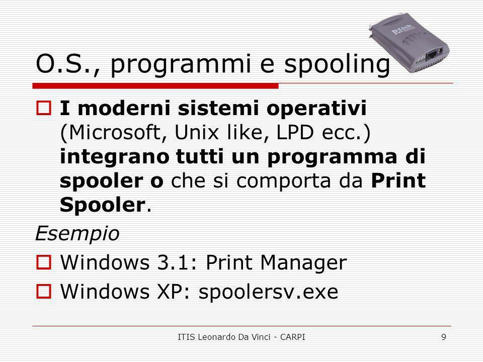 ITIS Leonardo Da Vinci - CARPI9 O.S., programmi e spooling I moderni sistemi operativi (Microsoft, Unix like, LPD ecc.) integrano tutti un programma d