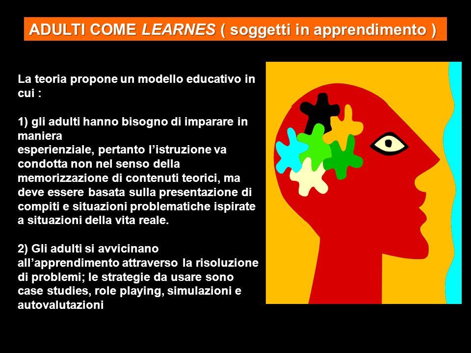 La teoria propone un modello educativo in cui : 1) gli adulti hanno bisogno di imparare in maniera esperienziale, pertanto listruzione va condotta non