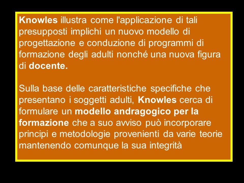 Knowles illustra come l'applicazione di tali presupposti implichi un nuovo modello di progettazione e conduzione di programmi di formazione degli adul