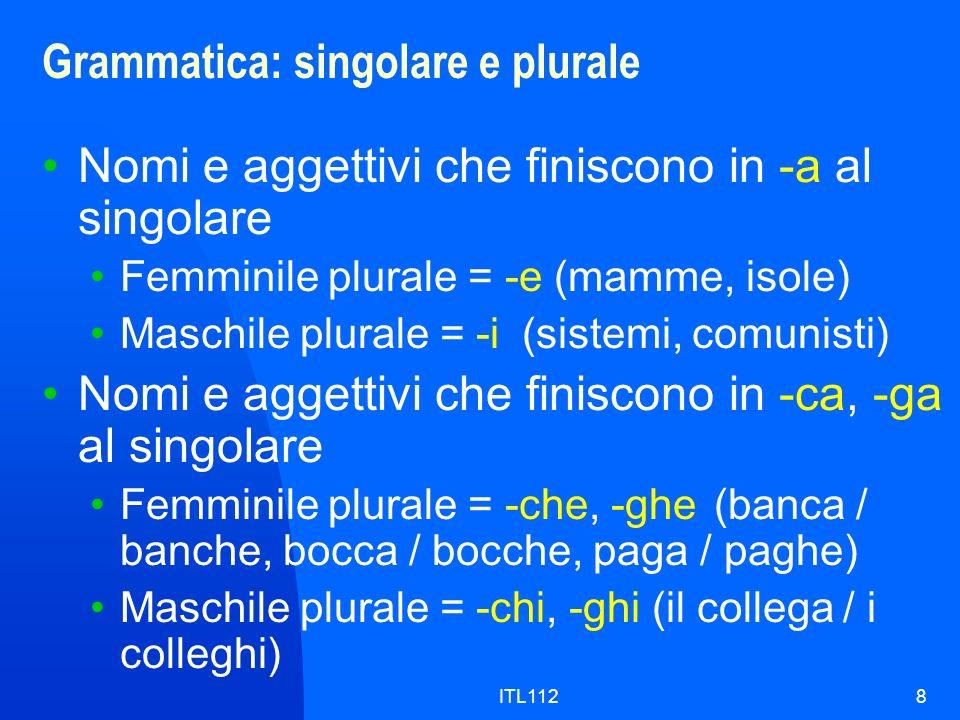 ITL1128 Grammatica: singolare e plurale Nomi e aggettivi che finiscono in -a al singolare Femminile plurale = -e (mamme, isole) Maschile plurale = -i(
