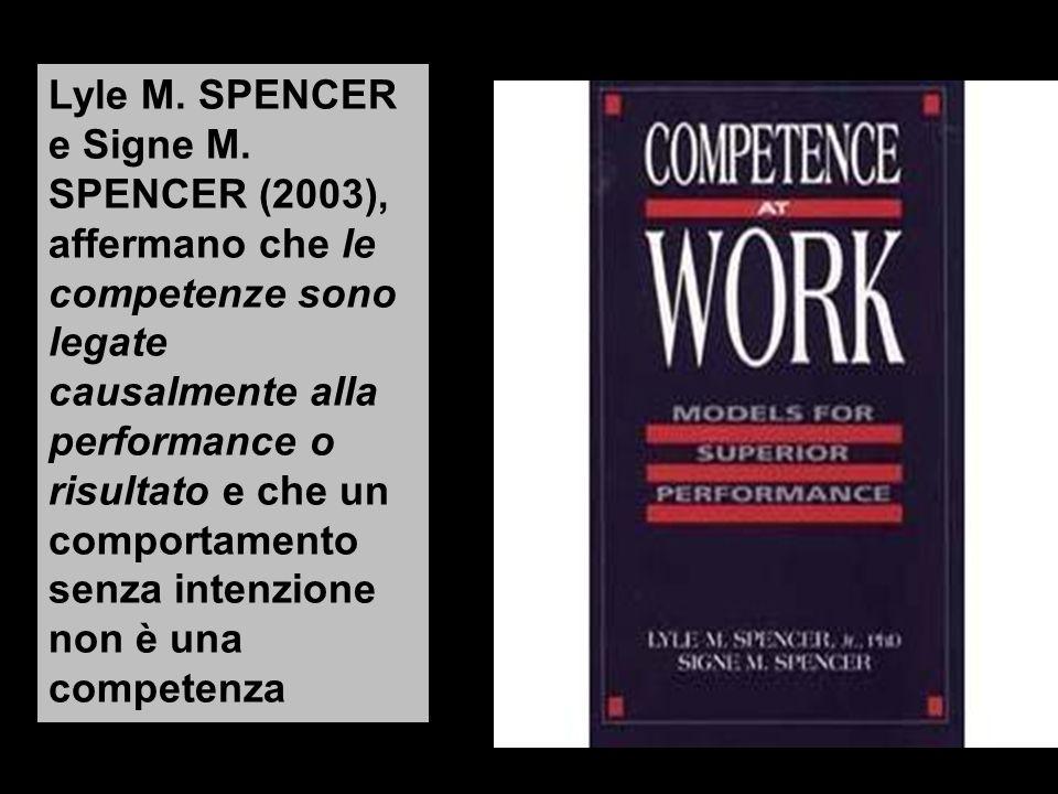 Lyle M. SPENCER e Signe M. SPENCER (2003), affermano che le competenze sono legate causalmente alla performance o risultato e che un comportamento sen