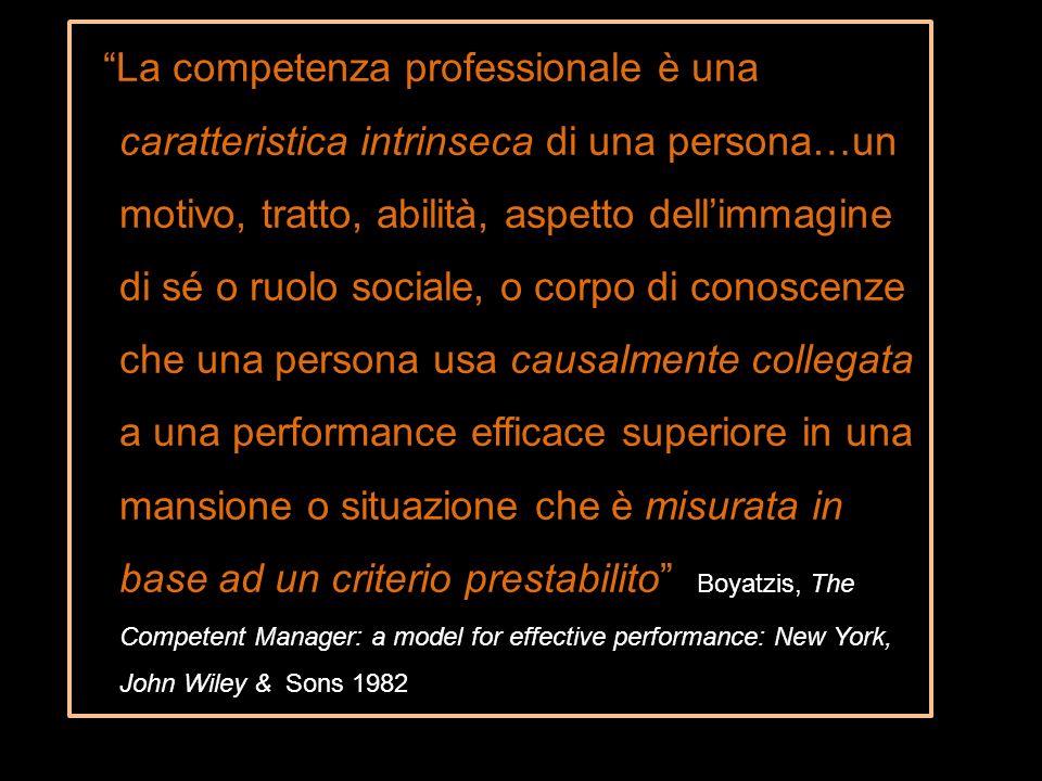 La competenza professionale è una caratteristica intrinseca di una persona…un motivo, tratto, abilità, aspetto dellimmagine di sé o ruolo sociale, o c