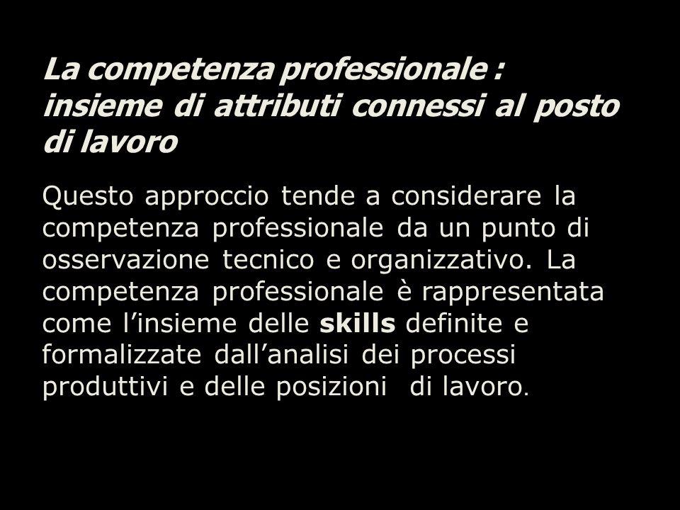 La competenza professionale : insieme di attributi connessi al posto di lavoro Questo approccio tende a considerare la competenza professionale da un