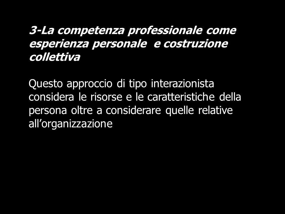 3-La competenza professionale come esperienza personale e costruzione collettiva Questo approccio di tipo interazionista considera le risorse e le car