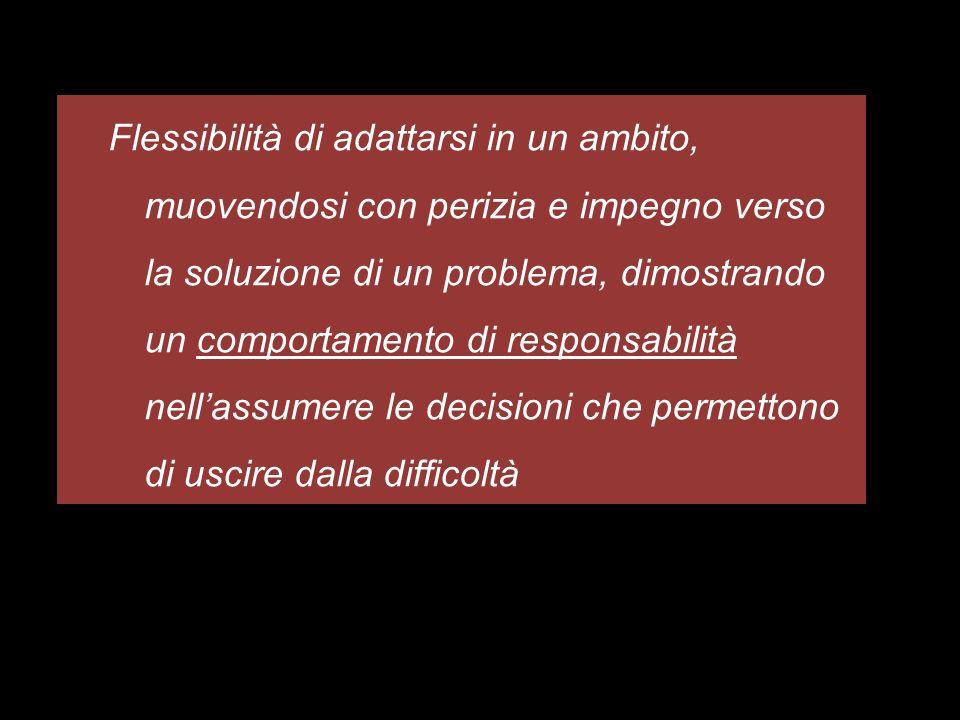 Flessibilità di adattarsi in un ambito, muovendosi con perizia e impegno verso la soluzione di un problema, dimostrando un comportamento di responsabi