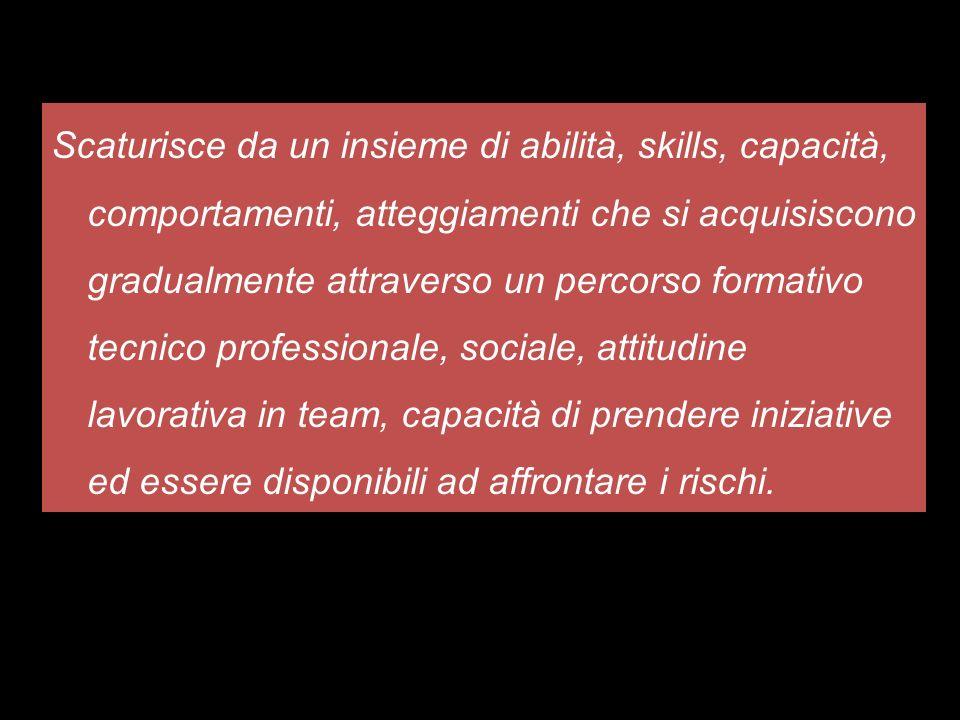 Scaturisce da un insieme di abilità, skills, capacità, comportamenti, atteggiamenti che si acquisiscono gradualmente attraverso un percorso formativo
