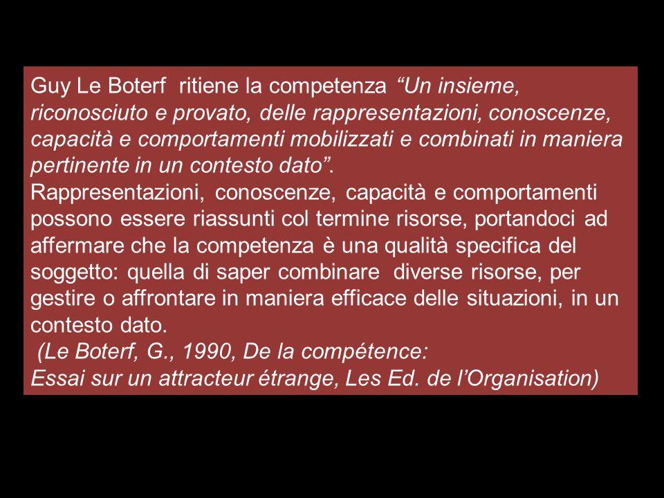 Guy Le Boterf ritiene la competenza Un insieme, riconosciuto e provato, delle rappresentazioni, conoscenze, capacità e comportamenti mobilizzati e com