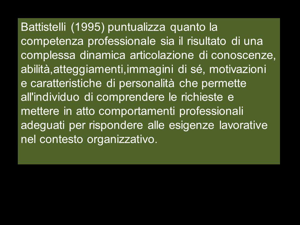 Battistelli (1995) puntualizza quanto la competenza professionale sia il risultato di una complessa dinamica articolazione di conoscenze, abilità,atte