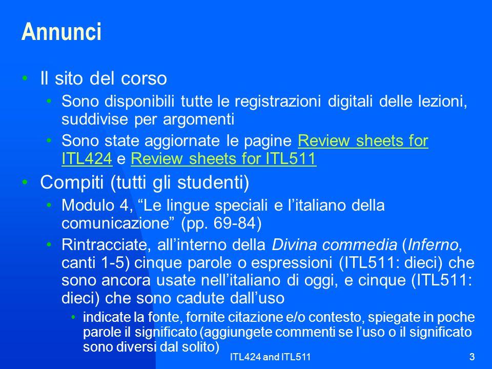 ITL424 and ITL5113 Annunci Il sito del corso Sono disponibili tutte le registrazioni digitali delle lezioni, suddivise per argomenti Sono state aggior