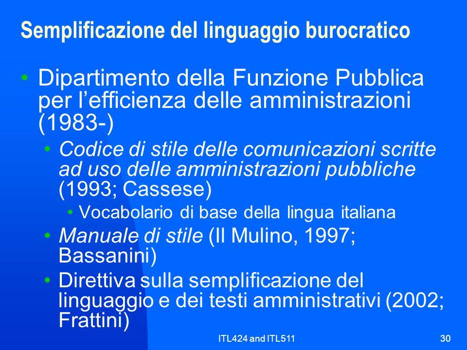 ITL424 and ITL51130 Semplificazione del linguaggio burocratico Dipartimento della Funzione Pubblica per lefficienza delle amministrazioni (1983-) Codi