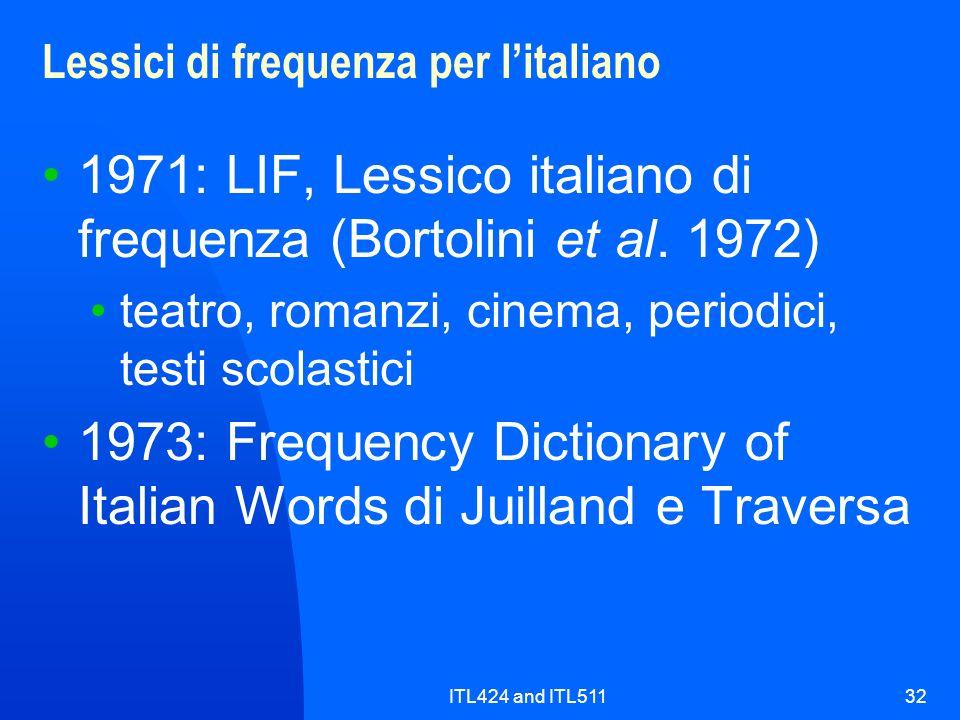 ITL424 and ITL51132 Lessici di frequenza per litaliano 1971: LIF, Lessico italiano di frequenza (Bortolini et al. 1972) teatro, romanzi, cinema, perio