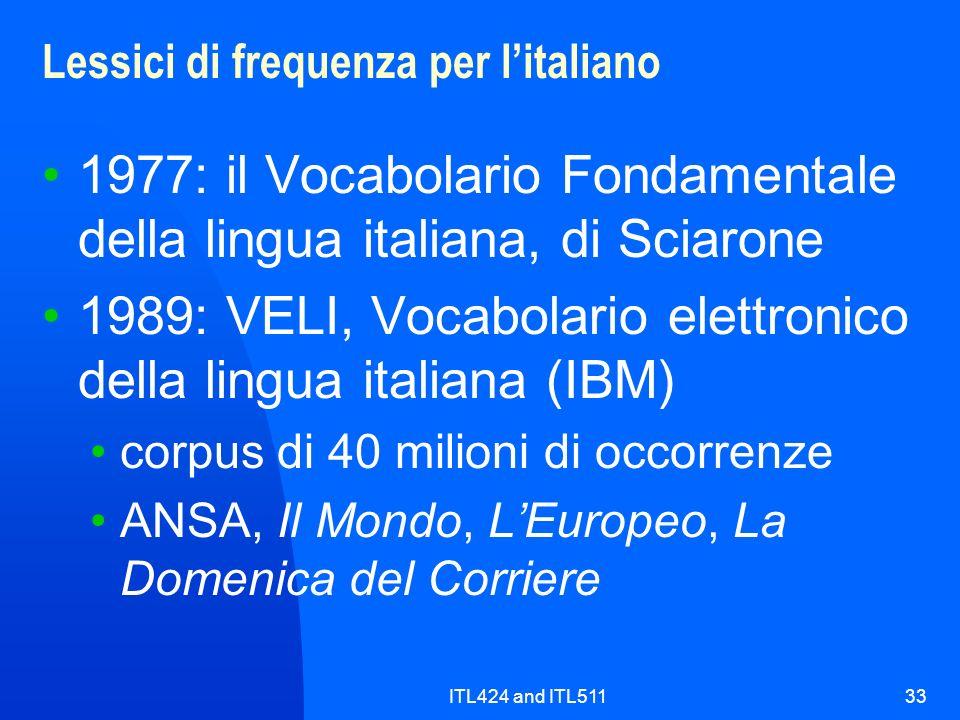 ITL424 and ITL51133 Lessici di frequenza per litaliano 1977: il Vocabolario Fondamentale della lingua italiana, di Sciarone 1989: VELI, Vocabolario el
