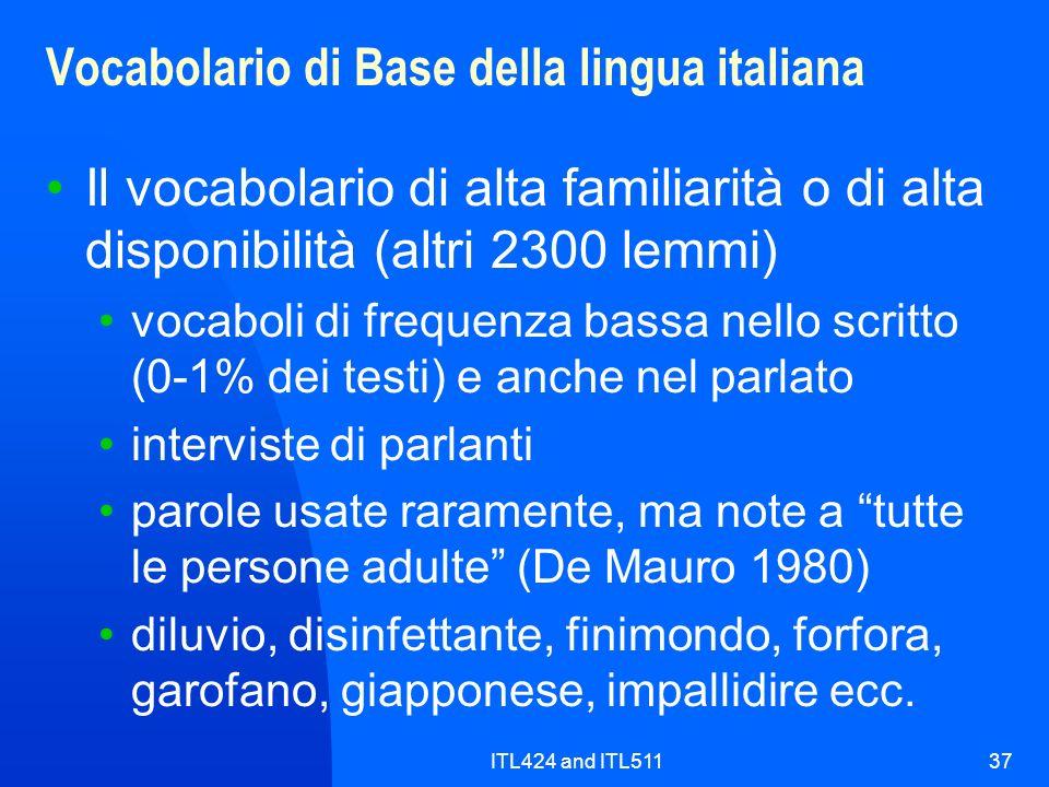ITL424 and ITL51137 Vocabolario di Base della lingua italiana Il vocabolario di alta familiarità o di alta disponibilità (altri 2300 lemmi) vocaboli d