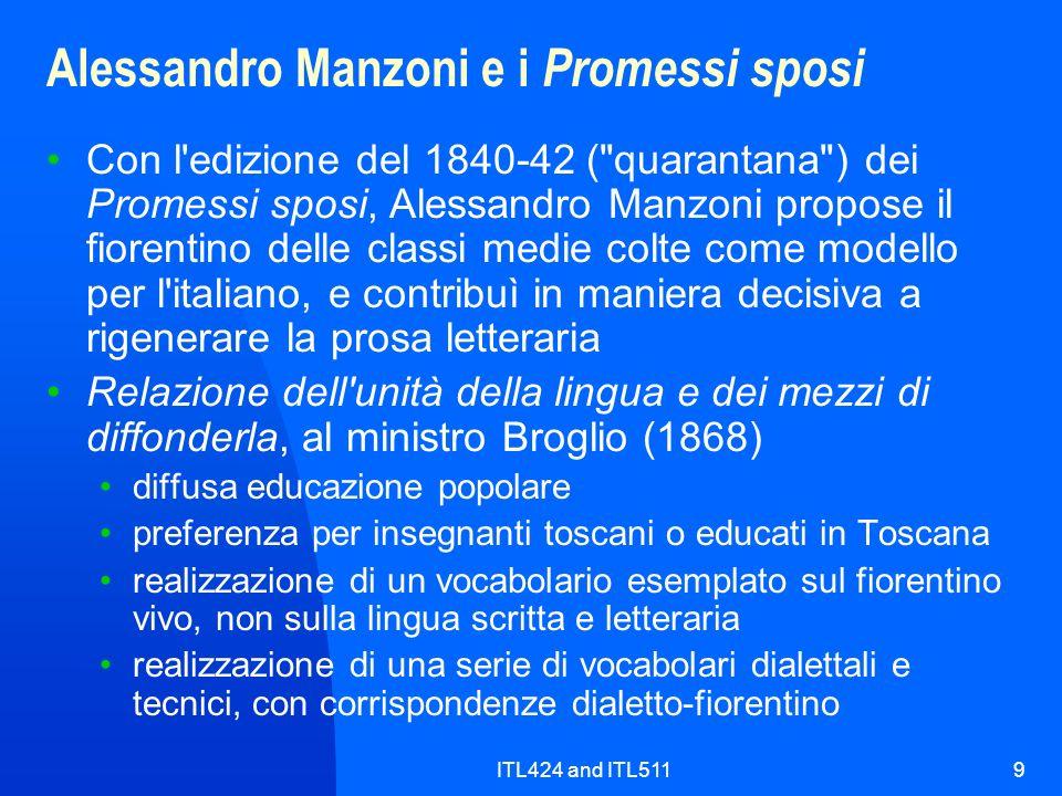 ITL424 and ITL5119 Alessandro Manzoni e i Promessi sposi Con l'edizione del 1840-42 (