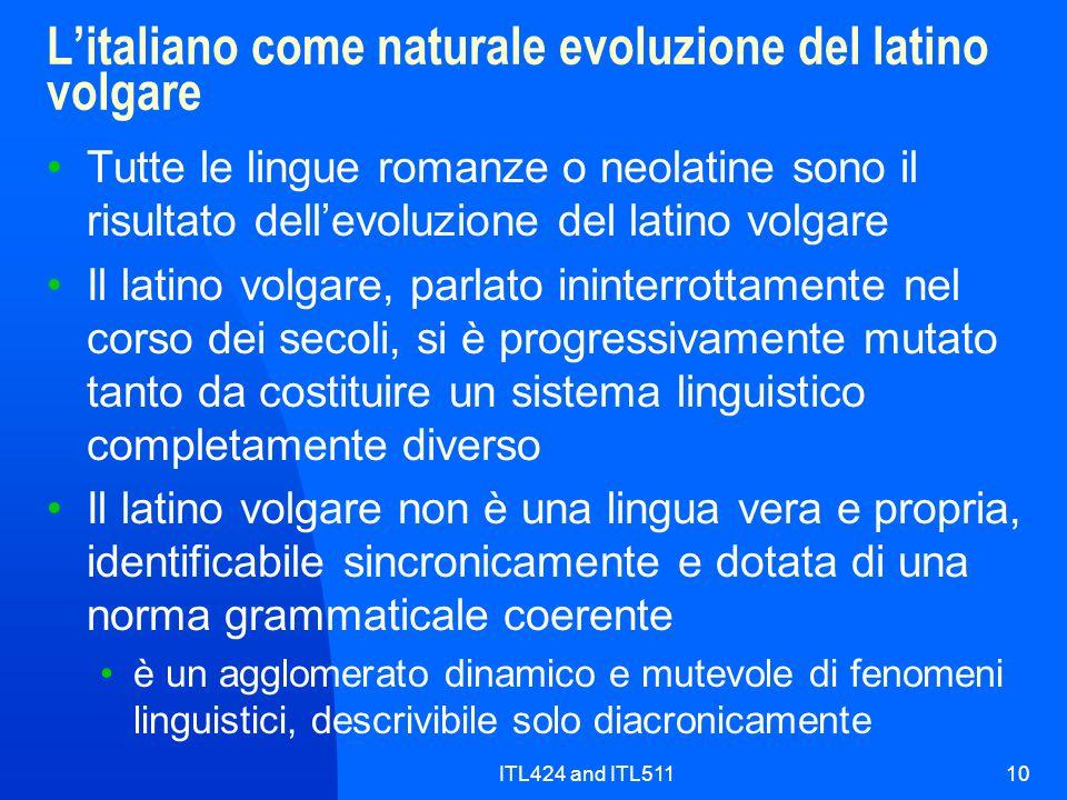 ITL424 and ITL51110 Litaliano come naturale evoluzione del latino volgare Tutte le lingue romanze o neolatine sono il risultato dellevoluzione del lat