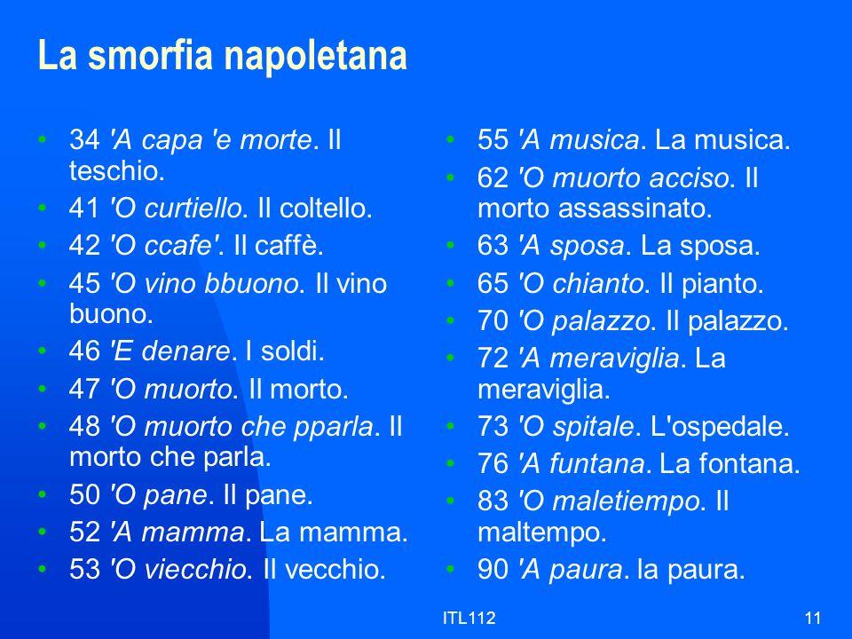 ITL11211 La smorfia napoletana 34 'A capa 'e morte. Il teschio. 41 'O curtiello. Il coltello. 42 'O ccafe'. Il caffè. 45 'O vino bbuono. Il vino buono