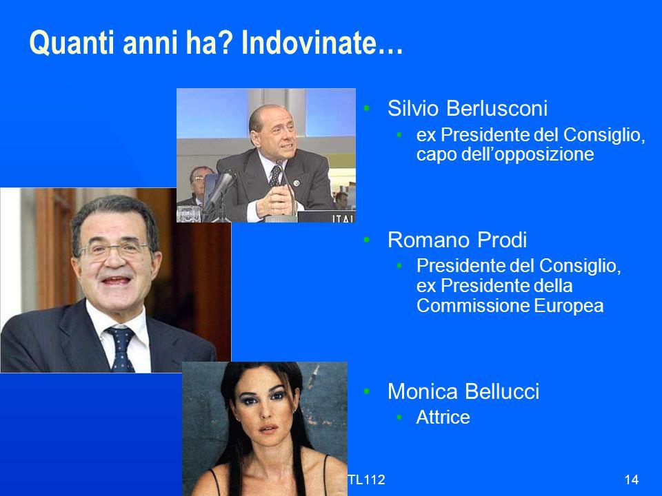 ITL11214 Quanti anni ha? Indovinate… Silvio Berlusconi ex Presidente del Consiglio, capo dellopposizione Romano Prodi Presidente del Consiglio, ex Pre