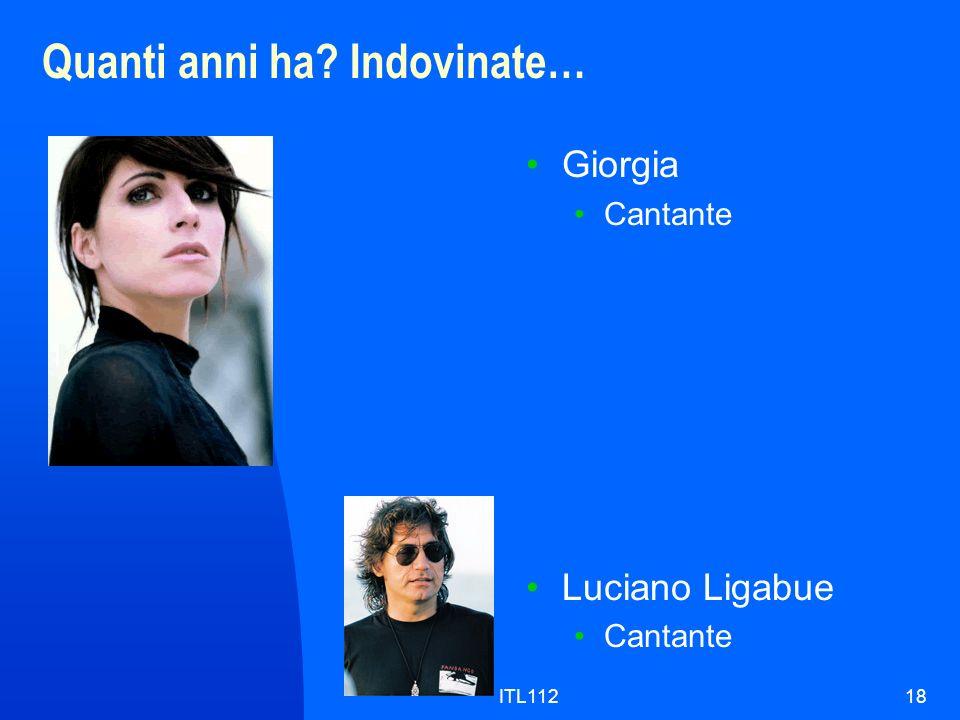 ITL11218 Quanti anni ha? Indovinate… Giorgia Cantante Luciano Ligabue Cantante