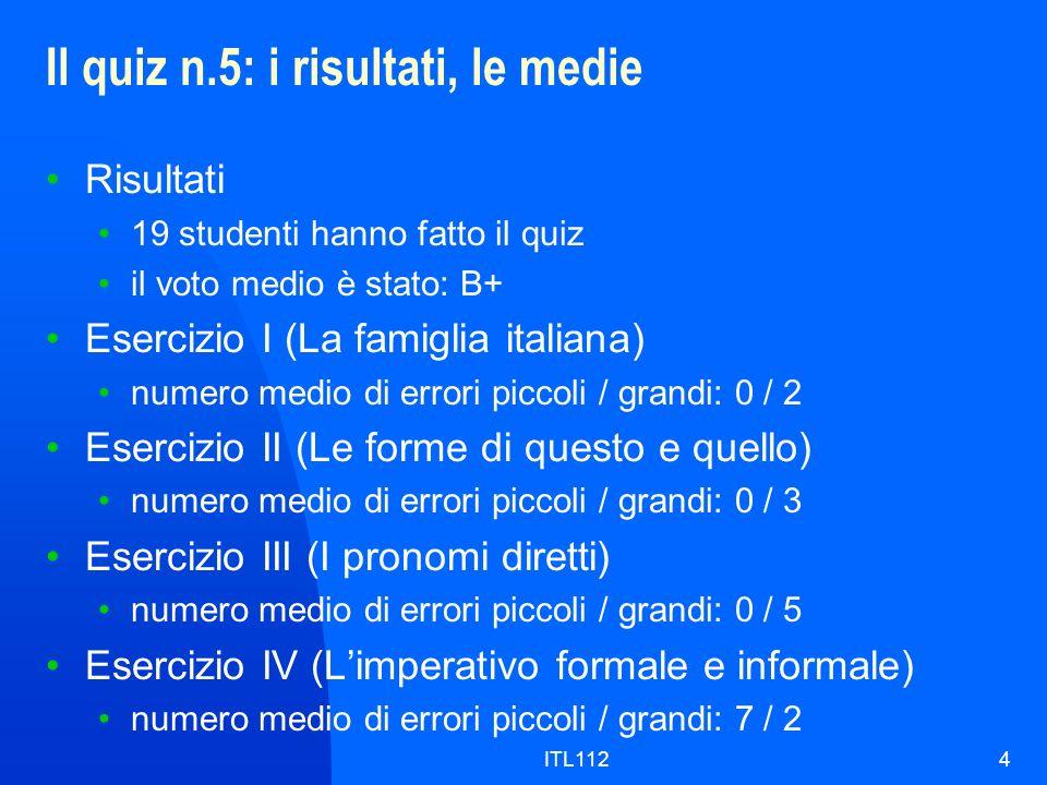 ITL1124 Il quiz n.5: i risultati, le medie Risultati 19 studenti hanno fatto il quiz il voto medio è stato: B+ Esercizio I (La famiglia italiana) nume
