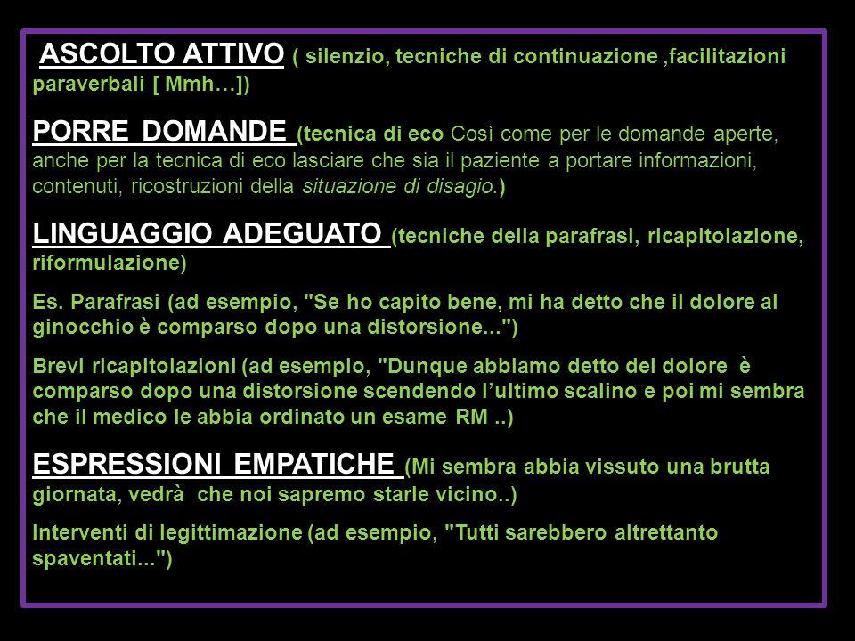 ASCOLTO ATTIVO ( silenzio, tecniche di continuazione,facilitazioni paraverbali [ Mmh…]) PORRE DOMANDE (tecnica di eco ) PORRE DOMANDE (tecnica di eco