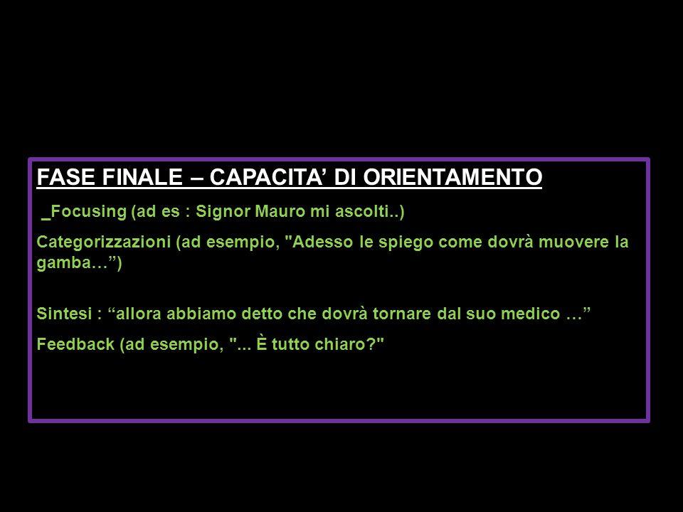 FASE FINALE – CAPACITA DI ORIENTAMENTO Focusing (ad es : Signor Mauro mi ascolti..) _Focusing (ad es : Signor Mauro mi ascolti..) Categorizzazioni (ad