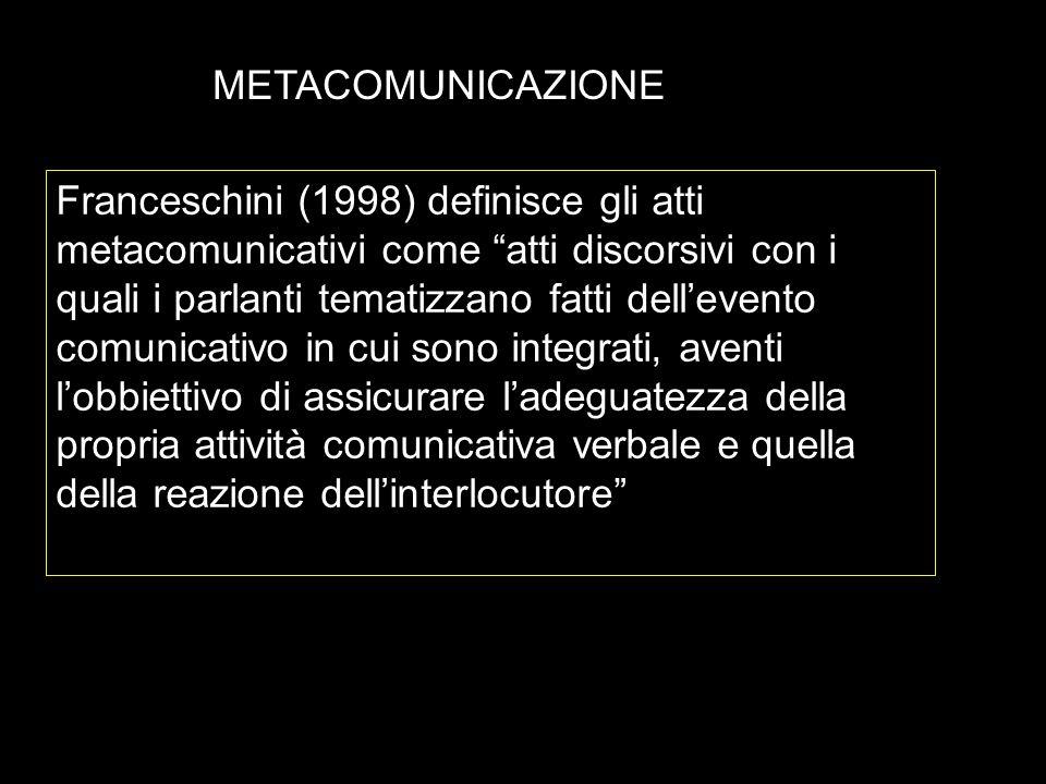 METACOMUNICAZIONE Franceschini (1998) definisce gli atti metacomunicativi come atti discorsivi con i quali i parlanti tematizzano fatti dellevento com