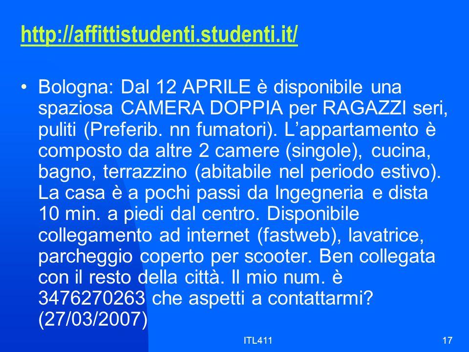 http://affittistudenti.studenti.it/ Bologna: Dal 12 APRILE è disponibile una spaziosa CAMERA DOPPIA per RAGAZZI seri, puliti (Preferib.