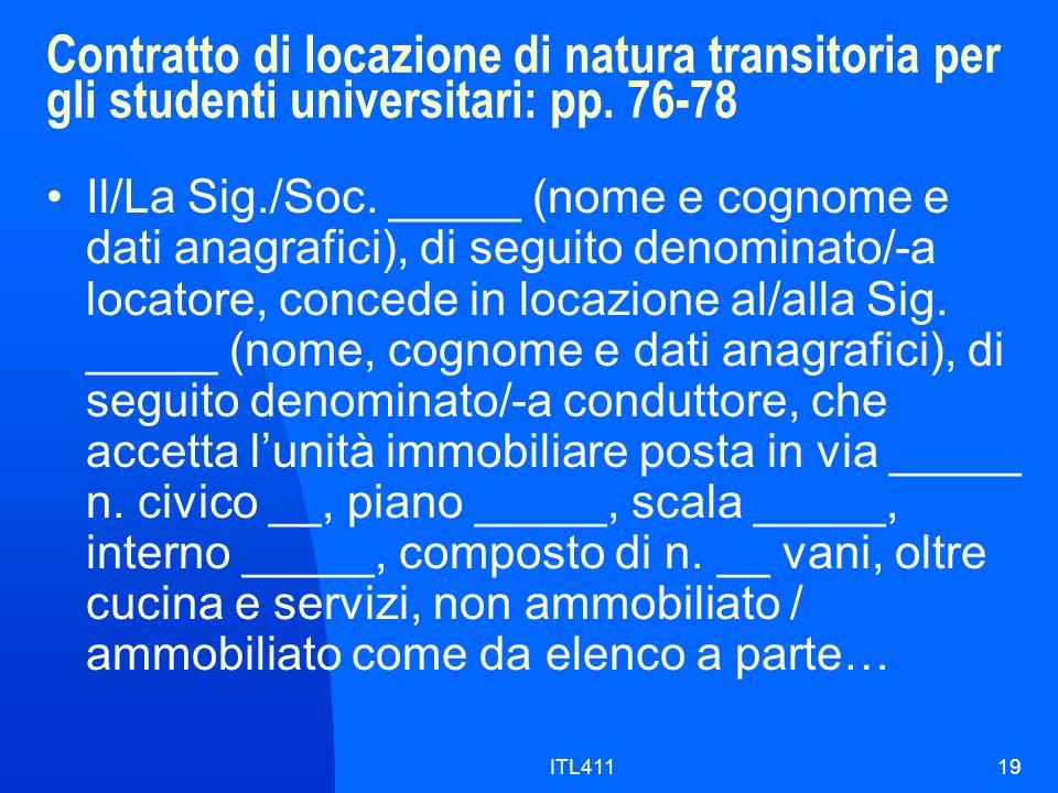 Contratto di locazione di natura transitoria per gli studenti universitari: pp.