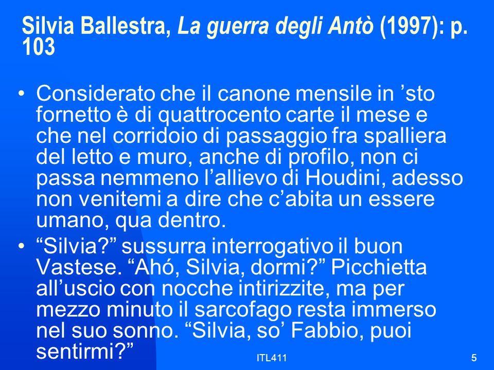 Silvia Ballestra, La guerra degli Antò (1997): p.