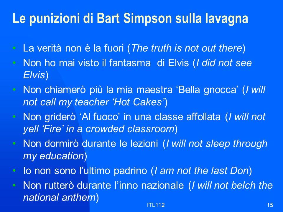 ITL11215 Le punizioni di Bart Simpson sulla lavagna La verità non è la fuori (The truth is not out there) Non ho mai visto il fantasma di Elvis (I did